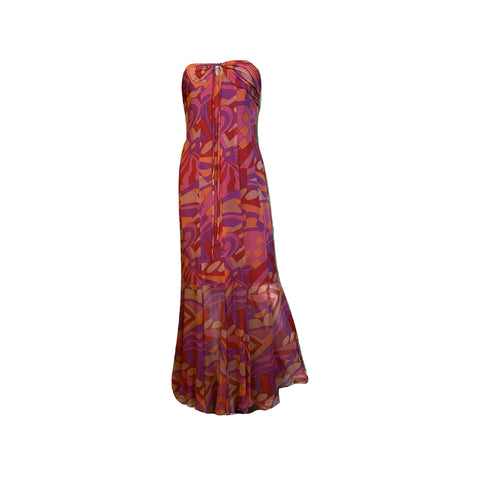 David Meister Pink Orange Strapless Bustier Silk Maxi Dress