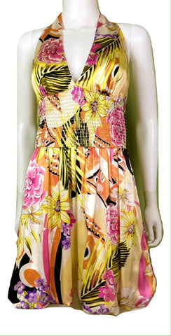Silk Plunge Halter Gold Yellow Cache Halter Bubble Mini Dress