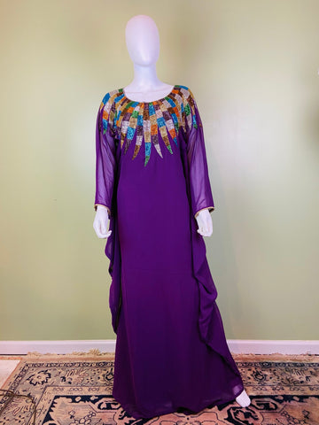 Regal Beaded Purple Kaftan Caftan Mu Mu