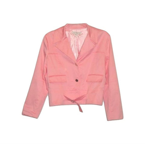 PINK COTTON SATEEN BELTED BLAZER CRUISE VACATION CAPE COD 4