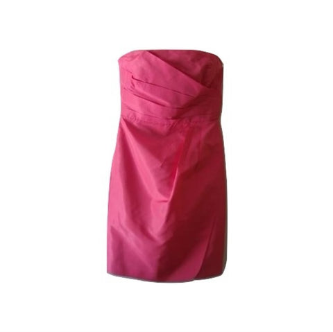 J Crew Hot Pink 100% Silk Pleated Bustier Formal Prom Cocktail Mini Dress 4