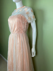 Vintage Victorian Bespoke Pink Peach Satin Sheer Embroidered Floral Lace Dress Gown