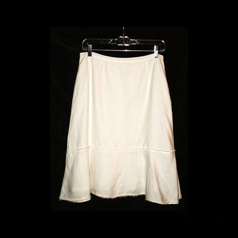 Harold's White Linen Skirt W/ Deconstructed Hem Size 6 Small