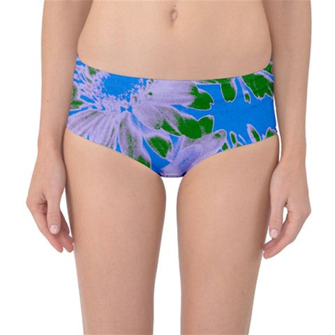 Suga Lane Floral Delights Retro Vintage Blue Green Mid Waist Bikini Bottoms