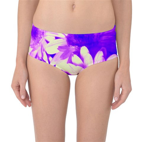 Suga Lane Floral Delights Blue Purple Violet White Mid Waist Bikini Bottoms