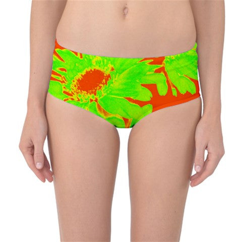 Suga Lane Floral Delights Lime Green Orange Mid Waist Bikini Bottoms