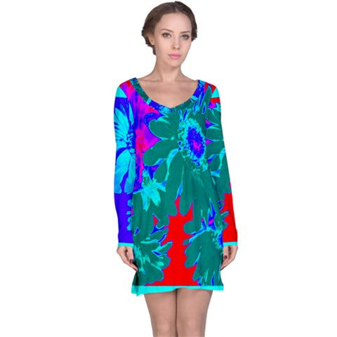suga lane tropical teal red floral tunic