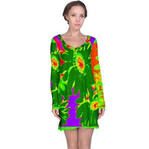suga lane tropical green yellow floral tunic