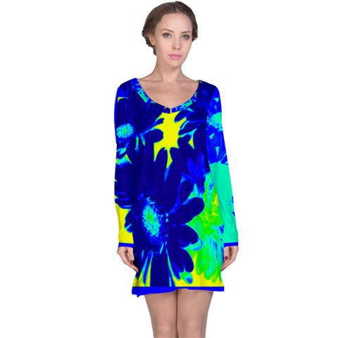 womens blue tropical floral tunic