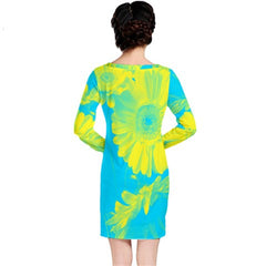 womens turquoise yellow tropical floral tunic