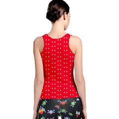 womens red polka dot racerback tank
