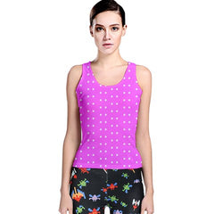 womens hot pink polka dot racerback tank