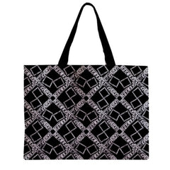 Suga Lane Black Silver Logissimo Large Canvas Tote Bag