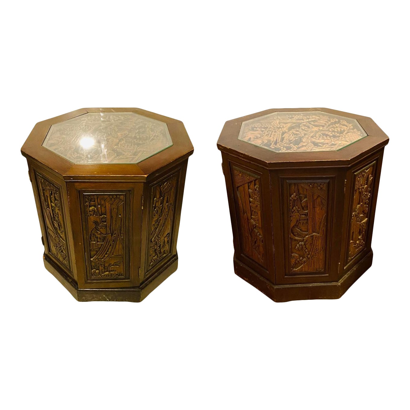 Ornate Asian Carved Wood Hexagon Cabinets Tables Glass Top - Pair of 2