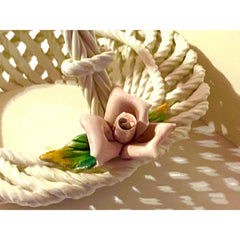1940s Vintage Hand Painted Floral Italian Ceramic Basket