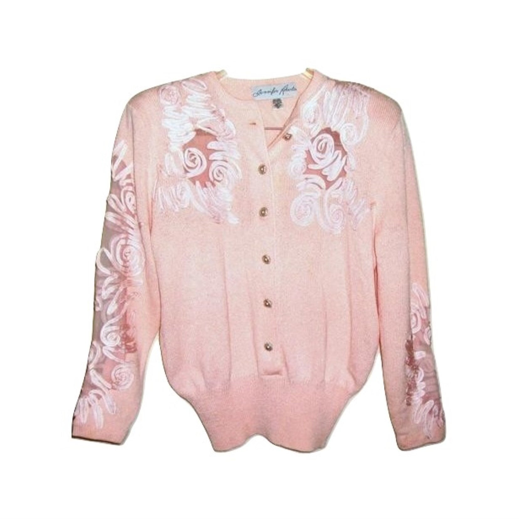 Vintage JENNIFER ROBERTS Embroidered Rhinestone Sweater Pearl Buttons