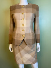 Vintage Tan & Cream Plaid Collarless Blazer W/ Cats's Eye Buttons