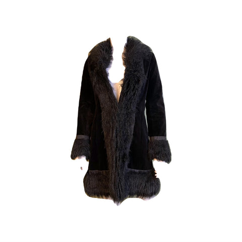 Black Velvet Faux Fur Coat