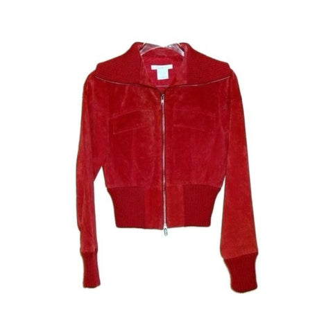 Red Suede Leather Zip Front Jacket Knit Collar Cuffs