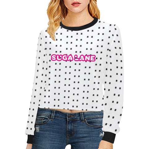 Polka Stripe Crop Sweatshirt