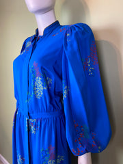 LANVIN Vintage Floral Royal Blue Silk Dress with Skirt