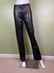 Black Leather Boot Cut Biker Pants