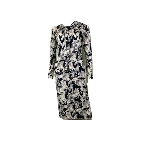 Vintage Black White Graphic Print Silk Peplum Dress