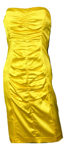 Cache Yellow Stretch Satin Ruche Corset Dress