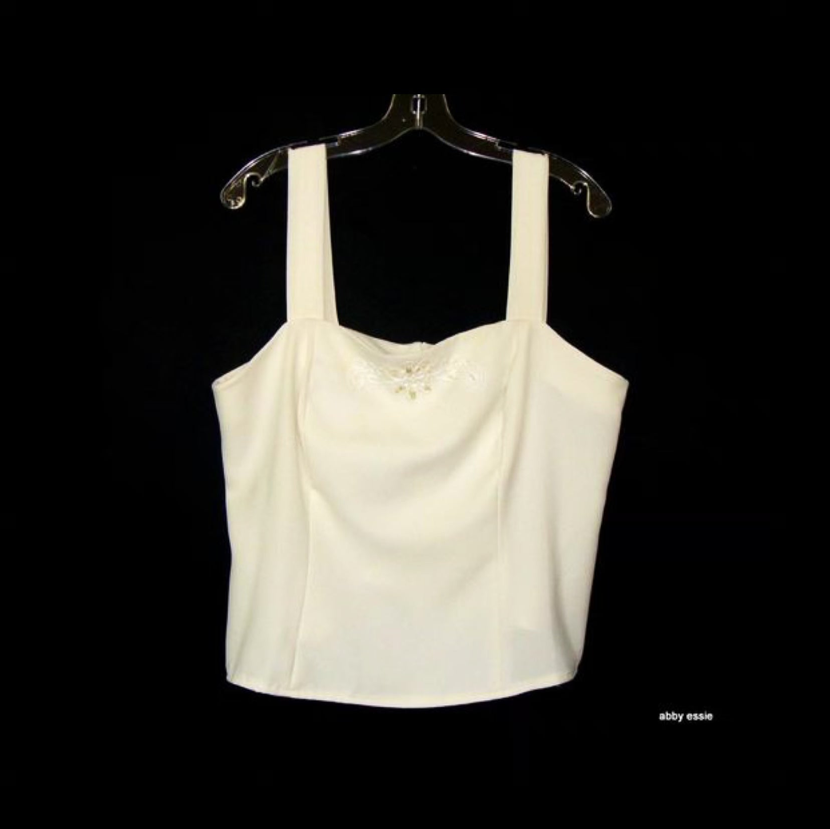 Cream White Beaded Cocktail Dressy Formal Tank 14 Large