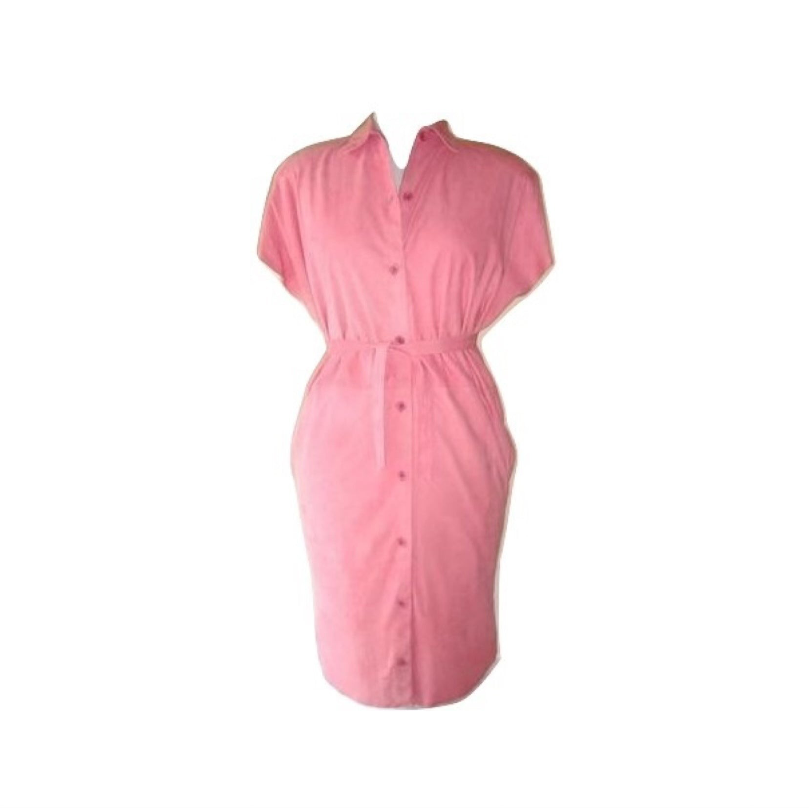 Vintage ALICIA HERRERA Pink Suede 80s Short Sleeve Shirt Dress