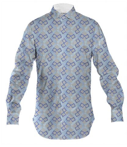 mens ice blue & gray button down shirt