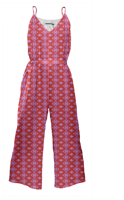 red & pink exes jumpsuit