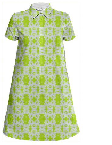 lime green damask shirt dress