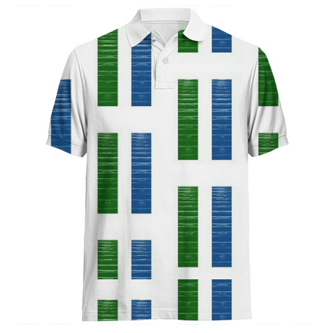 S. Lane Men Retro Panels Polo Shirt - blue & green