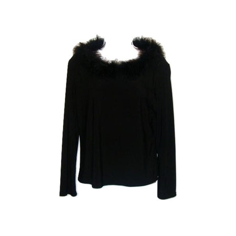 Black Boa Collar Sweater Top