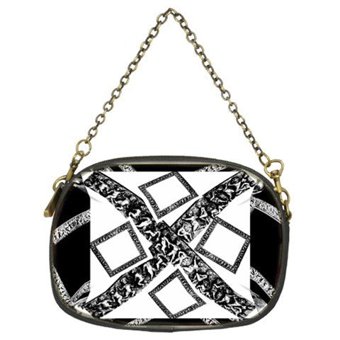 Suga Lane White Black Silver Logo Evening Bag