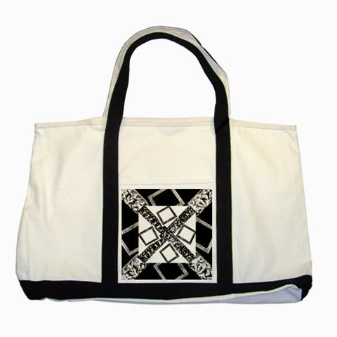Suga Lane White Black Canvas Logo Tote Bag No.2