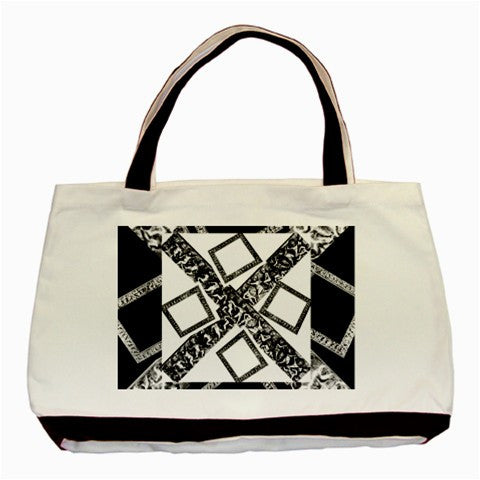 Suga Lane White Black Canvas Logo Tote Bag No.1