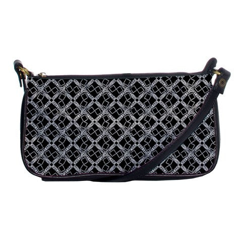Suga Lane Black Silver Micro-Logissimo Shoulder Clutch Bag