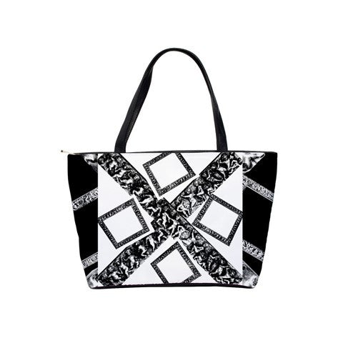 Suga Lane White Black Signature Logo Shoulder Tote Bag