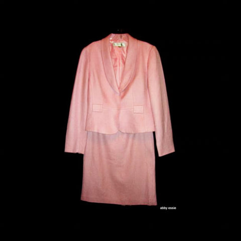 Tahari Arthur Levine Pink Wool 2pc Career Skirt Suit Blazer Jacket Size 4 Lst-27