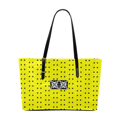 VIP Logo Polka Stripe Classic Leather Tote Bag