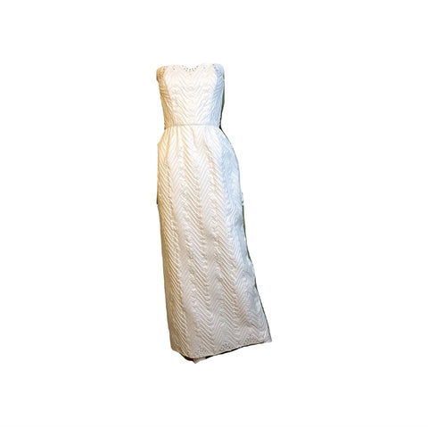 Vintage Mike Benet White Pleated Ruche Rhinestone Gown
