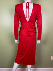 Vintage Bright Beaded Red Ruche Drape Dress