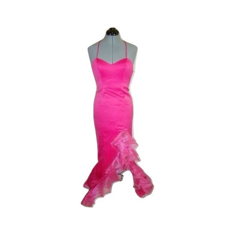 FAVIANA Fuschia Hot Pink Satin Bustier Chiffon Ruffle Formal Pageant