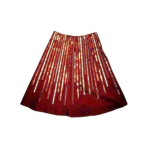 Haven Bleu Sequin Wood Bead Exotic Brown Cocktail Skirt Small  [4 6] Retail