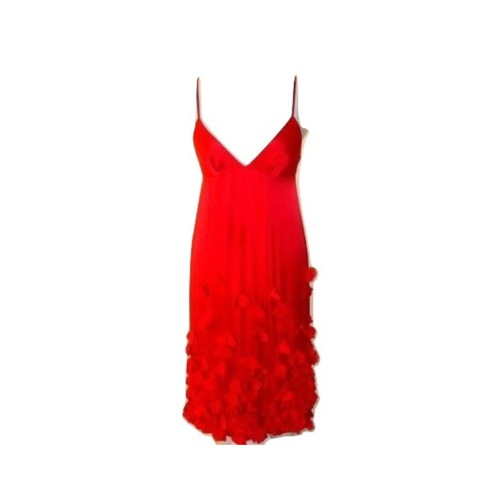 REBECCA TAYLOR Red Silk Dress W/  Flower Petals