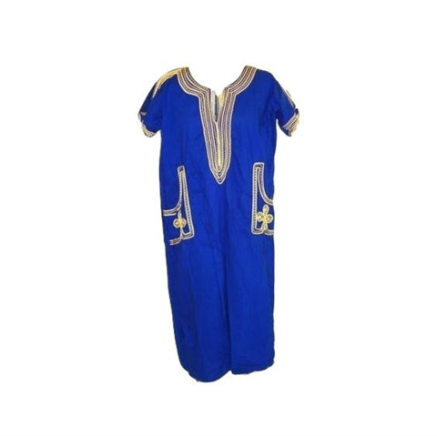 EXOTIC CULTURAL FESTIVAL ROYAL BLUE GOLD DRESS SIZE MEDIUM LARGE