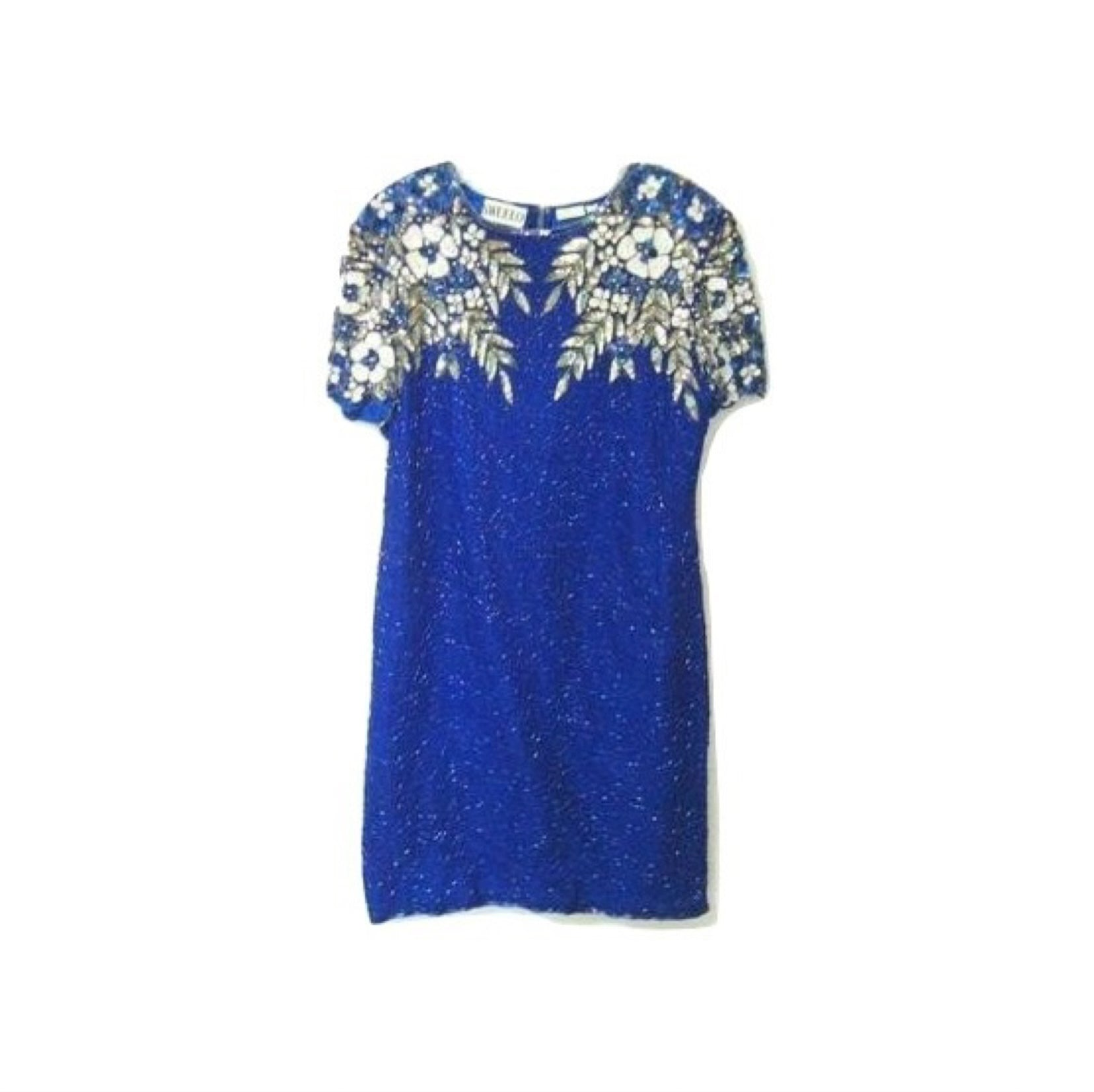 Vintage Royal Blue Silk Sequin Beaded Cocktail Dress