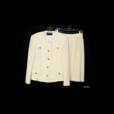 Herbert Grossman Cynthia Sobel Cream Military Style Wool Skirt Suit 12  Large
